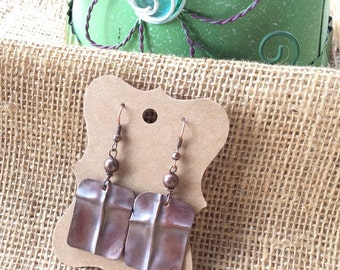 Copper Form Fold Earrings, Cross Earrings