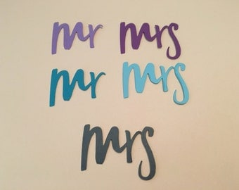24  Mr & Mrs punches you choose  2 inch Gray shimmer, silver shimmer, gold shimmer, pearl shimmer hand Punched Die Cut,