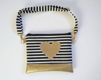 Black and white striped girls crossbody purse with gold faux