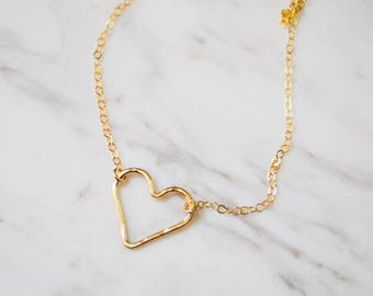 Simple Hammered Heart Necklace, Hammered Heart Necklace in 14kt Gold Fill, Open Heart Necklace, Heart Charm Necklace