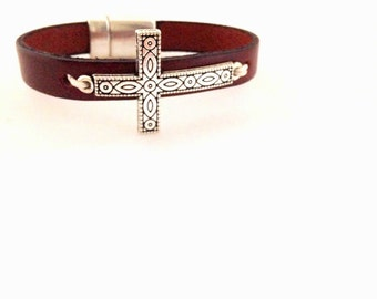 Silver Twist Cross Leather Bracelet. Choose Bracelet Color. Magnetic Clasp Premium Leather Bracelet.