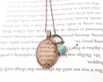 Anne of Green Gables. I Shall Give Life My Best. Literature Necklace. Vintage Style Necklace.