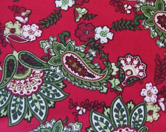 Paisley Cotton Fabric, David Textiles, Cranberry Red Greens, Floral Paisley Screenprint, Quilting Cotton, 2 yards