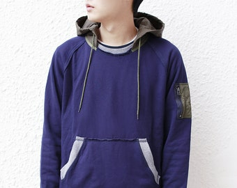 Quilted Hooded MA-1 Pocket Sweatshirt (Navy)