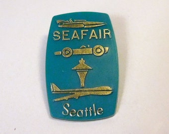 Vintage SEATTLE SEAFAIR Pin - Greater Seattle By Aero-Plastics - Hydroplane, Space Needle