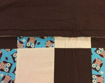 READY TO SHIP- Teal Owl Quilt, Brown, Cream, Teal, Neutral, Baby, Lap Quilt, Warm, Crib Size, Toddler