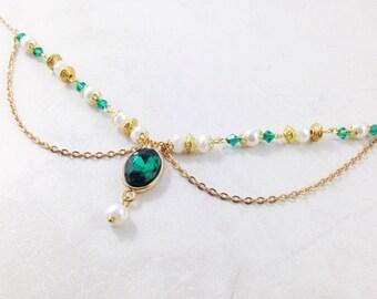 Emerald green gold hair head chain Jewelry christmas  headchain hairchain wedding tikka bollywood bohemian