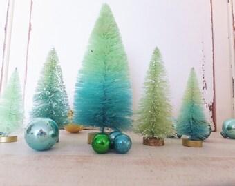 "Beach Bottlebrush Tree Set of 5 ~ Hand dyed Blue Green Ombre Decor ~ Summer Fairy Garden, Putz Village ~ 3.5"" to 6"" tall ~ Putz Gift fr Her"