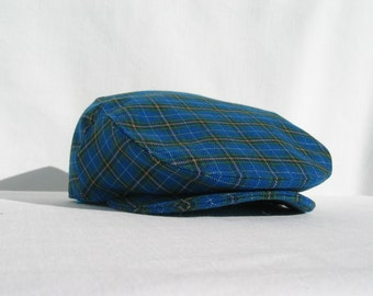 Blue Plaid Tartan Flat Cap, Small Print Nova Scotia Tartan Newsboy, Ivy Cap, Blue Golf Cap, Gentleman Driving Cap, Young Boy Flat Cap
