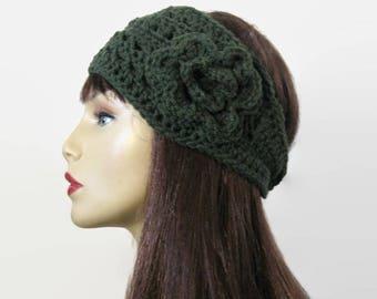 Crochet Head Band Green Crochet Headband with Flower  Dark Green Earwarmer forest Green Headwrap knit Earwarmer Crochet Ear Warmer Headwrap