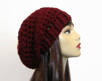 Crochet Slouch Hat Burgundy Hat Dark Red Oversize Slouch Hat Maroon Crochet Beanie Cranberry knit Slouch Hat Wine Beanie Women's Slouchy Tam