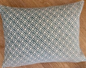TRELLIS design chenille fabric in AQUA and IVORY from Nina Campbell called Kelburn, accent cushion cover by MoGirl Design