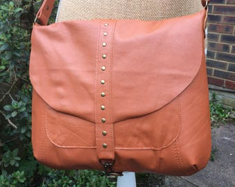 Recycled leather bag- Satchel-Messenger-Coppery Tan leather- Crossbody-Shoulder purse- Key ring closure.
