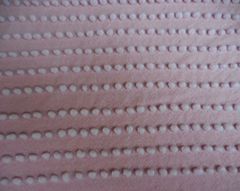 """Rare Fieldcrest PINK with WHITE Pearly POPS Vintage Chenille Bedspread Fabric - 18"""" X 21"""" - #2"""