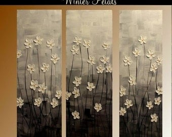 "Reserved for Reine  3 Panel Gallery canvas abstract  Modern 36"" palette knife  Impasto floral Oil painting by Nicolette Vaughan Horner"