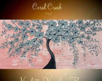 """SALE Original 40"""" gallery canvas Acrylic Blossom Tree Of Life  Pretty pinks and greysby Nicolette Vaughan Horner"""