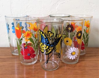 Vintage Sour Cream Glasses Set of 7 Collection Daisy Pinwheel, Spring Garden, Flowers, Butterfly Tumblers, Penn Maid Hazel Atlas
