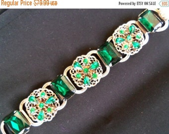 1950's Green Rhinestone Bracelet Collectible Jewelry Mad Men Mod Black Tie Formal Hollywood Regency Rockabilly Accessories