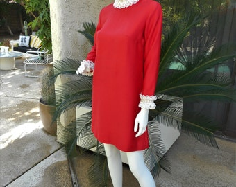 Vintage 1960's Ro-Nel of California Red Dress with White Lace Trim - Size 8/10