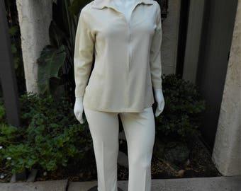 Vintage 1970's Morgin White & Silver Metallic Blouse - Size 18