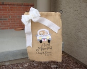 Personalized Burlap Wedding Garden Flag Outside Wedding Just Married Wedding Date Names