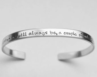 Personalized cuff bracelet - Custom stainless steel bracelet - Hand stamped - ANY words that fit - See ALL photos!!
