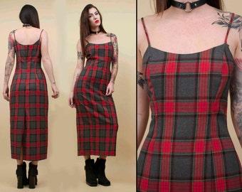 90s Vtg Classic Red TARTAN Plaid Long Maxi Dress / Grunge Punk Ankle Length Spaghetti Strap / Sm Med