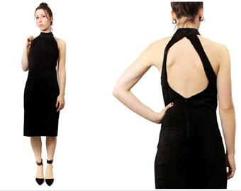 Vintage 90s Black Suede Leather Cut out Body Con LBD Small