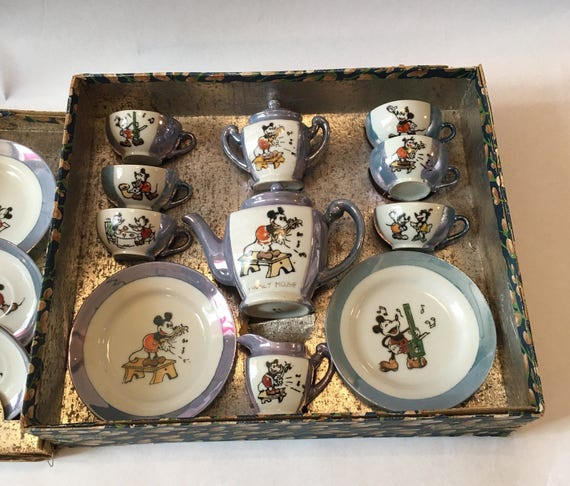 Disney China Tea Set 1930s-40s Mickey & Minnie Mouse in Box