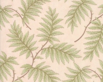 15% off thru May1st POETRY  green fern fronds on blush pink cotton print by the 1/2 yard 3 Sisters Moda fabric 44135-15