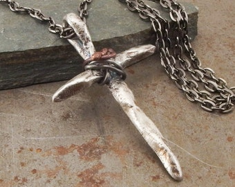 Twisted Christian Cross Sterling Silver Pendant Necklace Handmade Jewelry for Men or Women