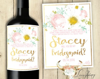 Bridesmaid Wine Label Maid of Honor Wine Label Bridesmaid Candle Label Maid of Honor Candle Label PRINTABLE Gold Daisies Sparkles Glitter