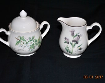Noritake Country Diary Edwardian Lady Edith Holden 1908 Creamer and Sugar Bowl with Lid
