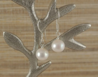 Large White Freshwater Pearls and Sterling Silver Earrings