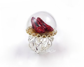 Wizard of Oz Silver Ring - Ruby Red Slippers - Oz Yellow Brick Road Glass Dome