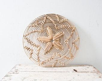 Woven African Vintage Plate - Natural - Wicker Woven Wooden Natural Brown Tan Hot Plate Wall Decor