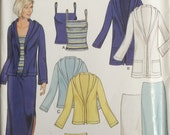 New Look 6189, Size 10-12-14-16-18-20-22, Tank Top, Hooded Jacket and Skirt in Two Lengths Pattern, UNCUT, Sized for Stretch Knits Only