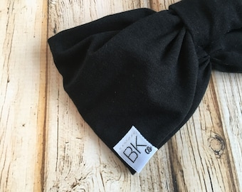 Black BAMBOO gathered in the front, with a bow in the back-The Best Headband you will ever own!