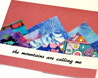 Blue Mountains Card, Original Textile Fiber Art Greeting, The Mountains are Calling Me Notecard, Vacation Getaway,Fathers Day itsyourcountry