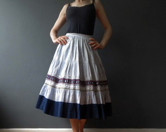 Vintage 70 Southwestern Blue Cotton Swing Skirt  Medium