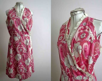 60s 70s Pink Floral Wrap Dress Handmade Vintage