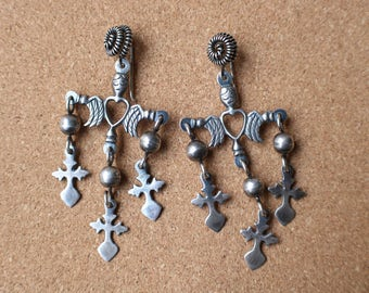 Yalalag Cross EARRINGS / Sterling Silver Mexican Cross Jewelry / Vintage Large Dangling Earrings