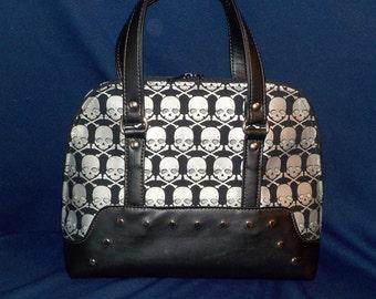 Black and Chrome, Gothic Glam, Skulls, Metallic Fabric, Bowler Style Handbag