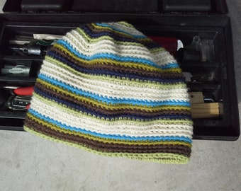 Mens Alpaca Wool Hat - Womens Striped Crochet Hat - Men's Hiking Biking Skating Off White Cap Brown Green Blue (One Size - Ready to Ship)