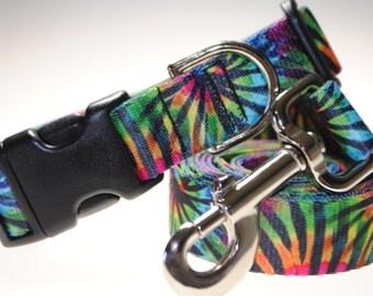 "Tie-Dye Stripe Collar and Leash Combination - 1"" Width"