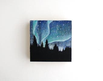 Northern Lights Mixed Media Painting - 3 x 3