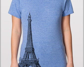 Eiffel Tower Unisex T Shirt VIntage Paris France  American Apparel Tee XS, S, M, L, XL 9 COLORS Mother's Day Gift for Mom Graduation Gift