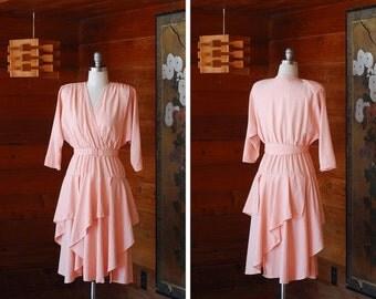 20% OFF FALL SALE / vintage pink rayon dress / size small medium