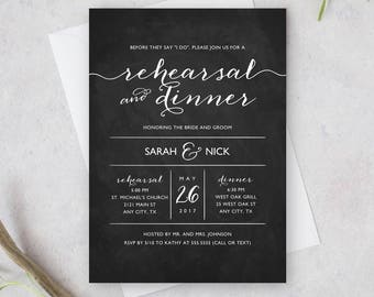 Printable Wedding Rehearsal and Dinner Invitation, Chalkboard Invite