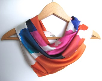 Vintage Scarf Wonderful Silk Abstract  Bright Pink Orange Blue White Promotional for Chrysalis Films Silk Scarf